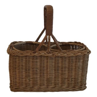 Vintage Double Wine Bottle Carrier Basket For Sale