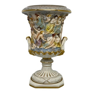 Mid-Century G B R. Capodimonte Hand-Painted Urn For Sale