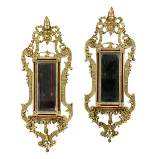 Pair of Italian Baroque Style Giltwood Mirrors For Sale