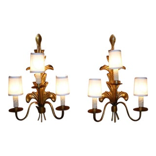 Pair of Acanthus Leaf Gilt Metal Three-Candle Sconces 1950s For Sale