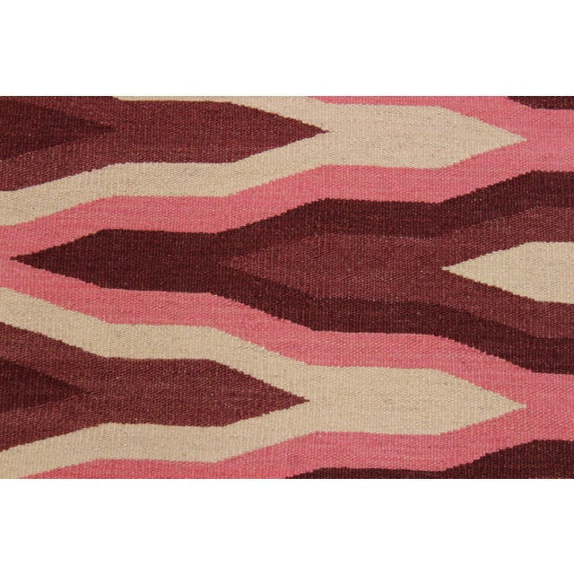 Contemporary Kilim Sallee Red Hand-Woven Wool Rug -3′3″ × 5′ For Sale - Image 4 of 8
