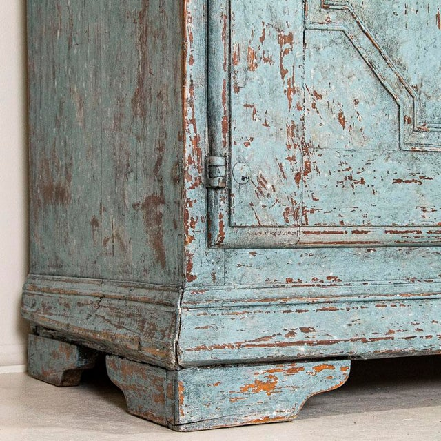 Antique Blue Painted Bookcase Display Cabinet From Sweden For Sale - Image 12 of 13