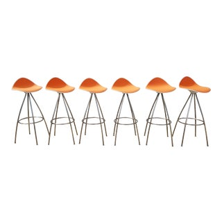 "1980s Vintage Jesus Gasca ""Onda"" Bar Stools- Set of 6 For Sale"