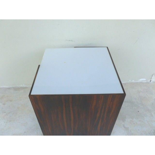 1970s Mid Century Modern Rosewood & Acrylic Floor Lamp Table For Sale In Miami - Image 6 of 13