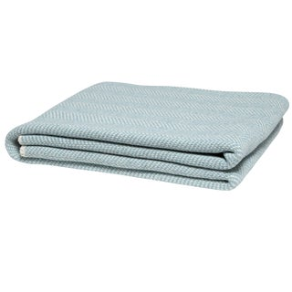 Eco Herringbone Blue Pond Throw For Sale