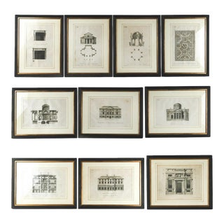 Set of 10 Architectural Engravings For Sale