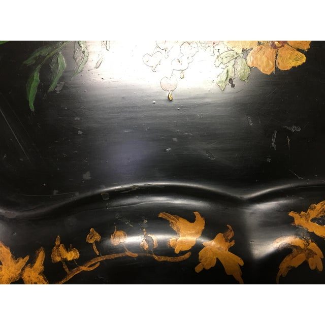 Vintage Tole Tray Black With Hand Painted Floral Design For Sale - Image 4 of 8