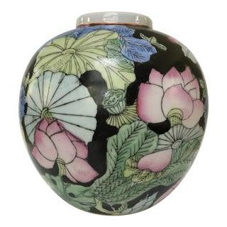 Vintage Black Chinoiserie Ginger Jar