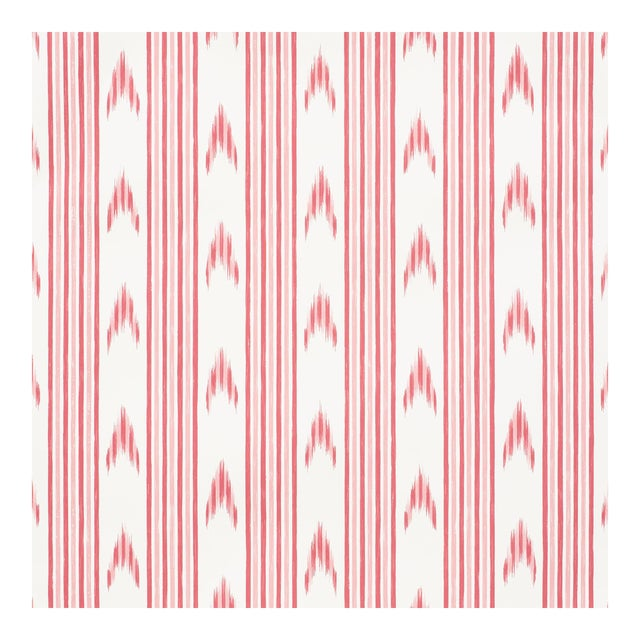 Schumacher X Mark D. Sikes Santa Barbara Ikat Wallpaper in Pink For Sale