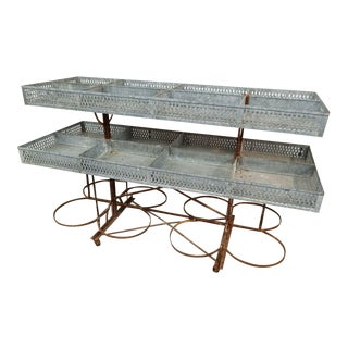 1920s Vintage Zinc French Produce Cart For Sale