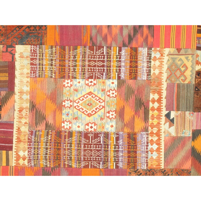 Boho Chic Vintage Patchwork Lamb's Wool Area Rug - 6x9 For Sale - Image 3 of 5