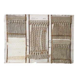 Antique Sample Page Buff Fringe Trim Passimenterie For Sale