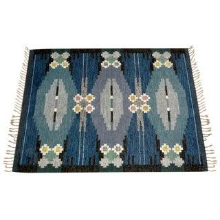 Swedish Mid-Century Flat Weave Rug For Sale