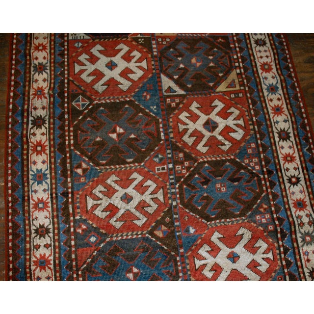 Antique hand made Caucasian Kazak Mohan rug in great condition. This rug has typical Mohan geometric design. Very nice...