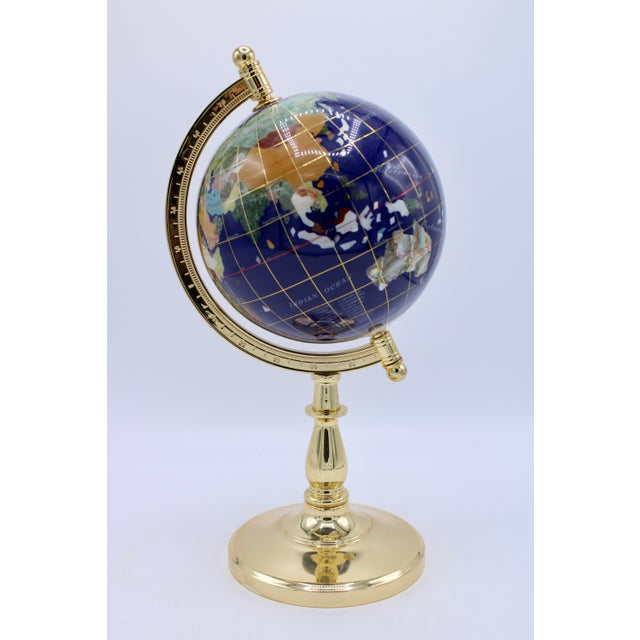 Vintage Blue Lapis World Gold With Semiprecious Gems on Brass Stand For Sale - Image 10 of 13