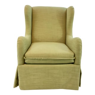 Gabby Green Linen Harlow Swivel Chair For Sale