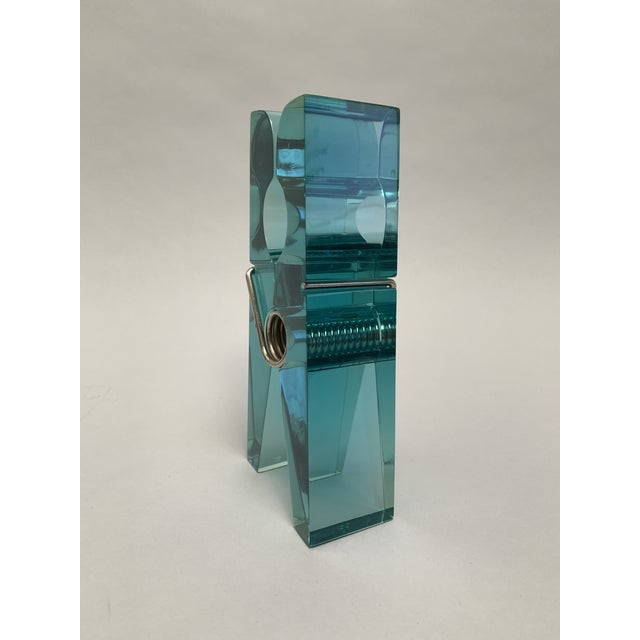 Oversized Teal Lucite Clothespin Paperweight or Paper Holder For Sale In New York - Image 6 of 13