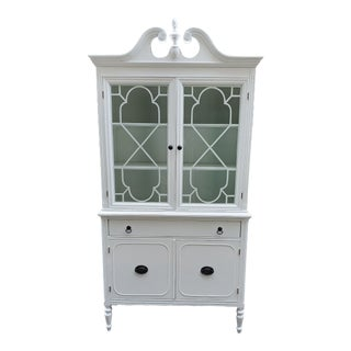 Vintage Boho Chic China Cabinet Hutch For Sale
