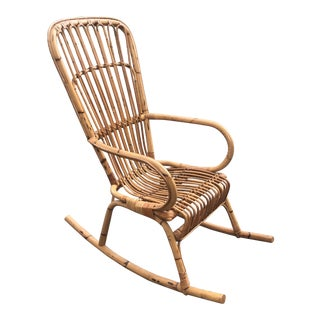 1970s Vintage Franco Albini Bamboo Rocking Chair** For Sale