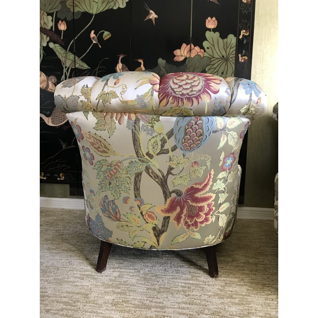 1940s Pullman Armless Floral Silk Upholstered Slipper Chairs - a Pair For Sale - Image 6 of 13
