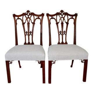 Carved Mahogany Chinese Chippendale Chairs - a Pair For Sale