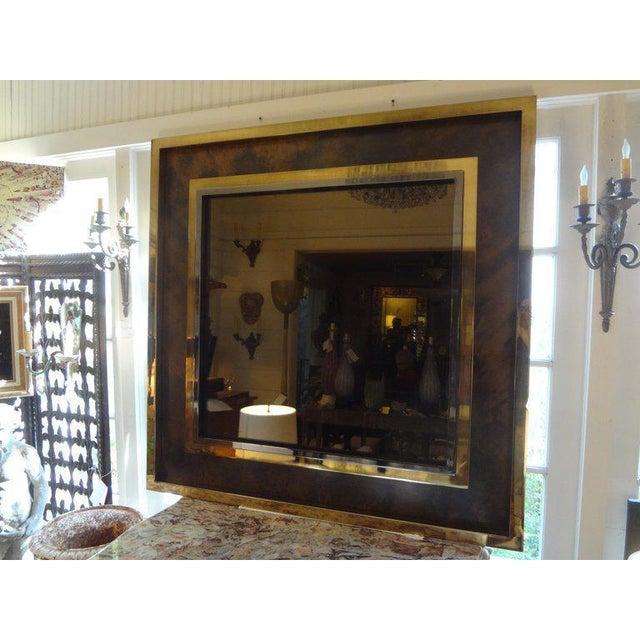 Metal Italian Romeo Rega Style Mid-Century Modern Square Mirror For Sale - Image 7 of 10
