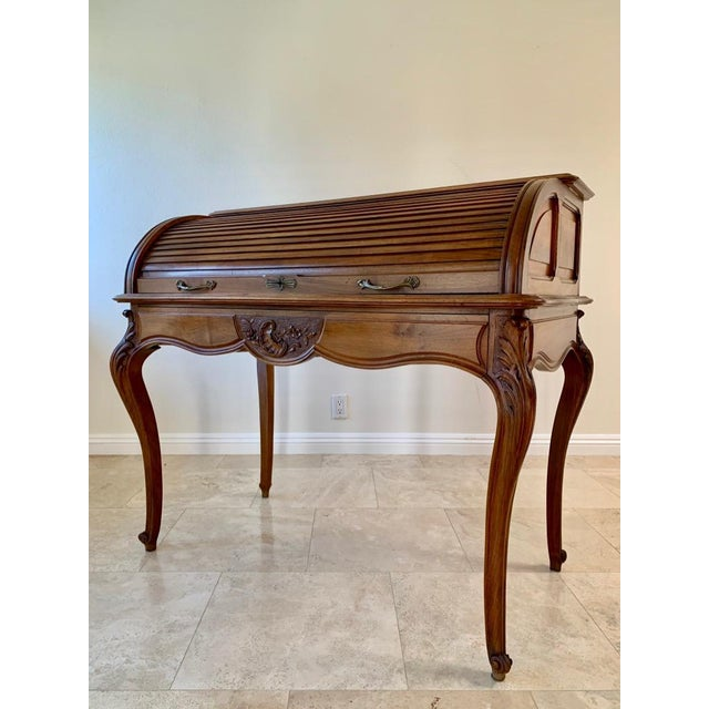 Antique French Walnut Tambour Top Desk For Sale - Image 11 of 13
