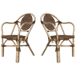 1960s Pair of Spanish Bamboo Armchairs With Ovaled Back Rest For Sale
