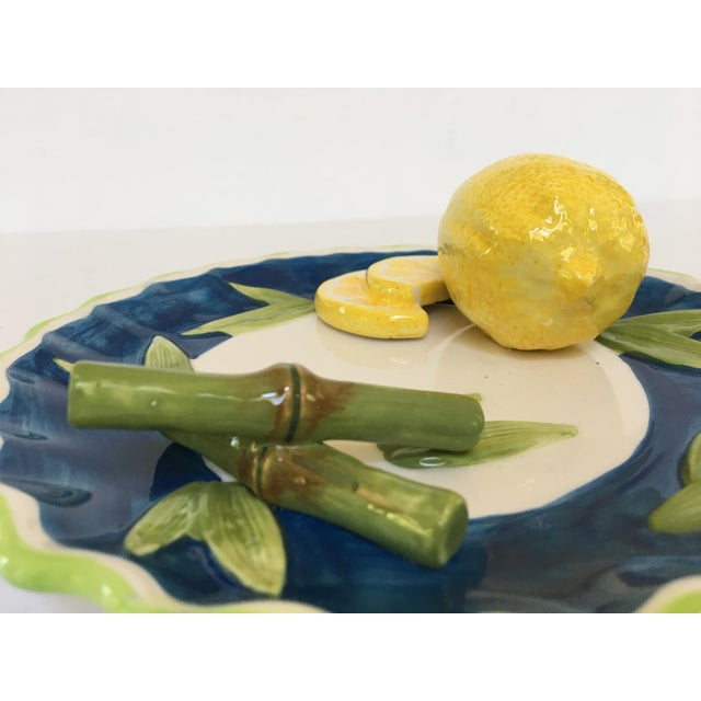 Late 20th Century Trompe l'Oeil Decorative Lemon & Bamboo Scalloped Plate For Sale - Image 5 of 8