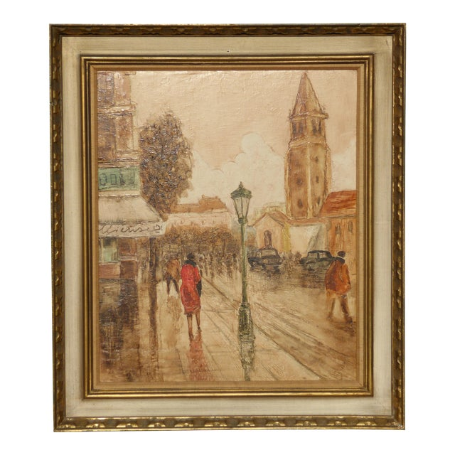 Vintage Mid-Century French City Scape Oil Painting Picture Gold Frame For Sale