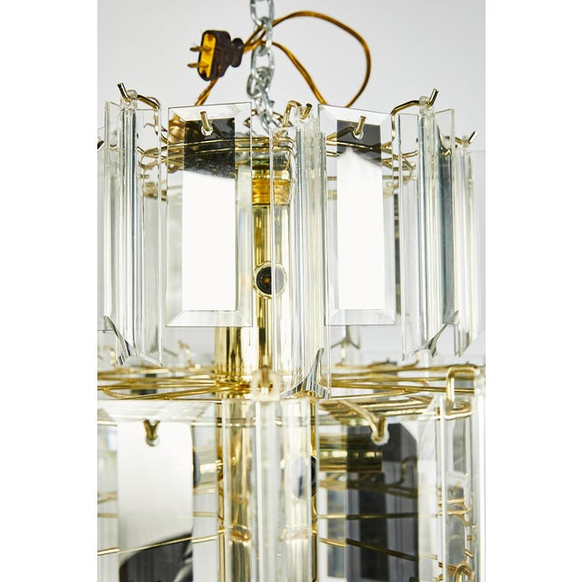 Vintage Italian Waterfall Chandelier With Lucite and Mirrored Prisms For Sale - Image 12 of 13