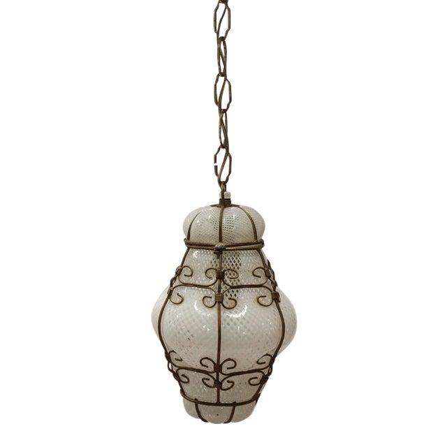 1940's Vintage Seguso Murano White Glass Cage Pendant Light For Sale