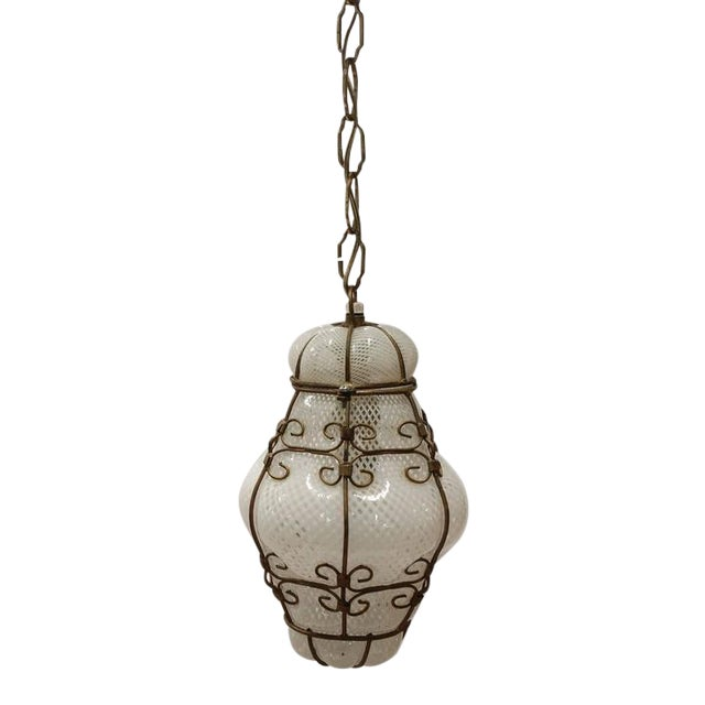 Vintage Seguso Murano White Glass Cage Pendant Light, 2 available - Image 1 of 2