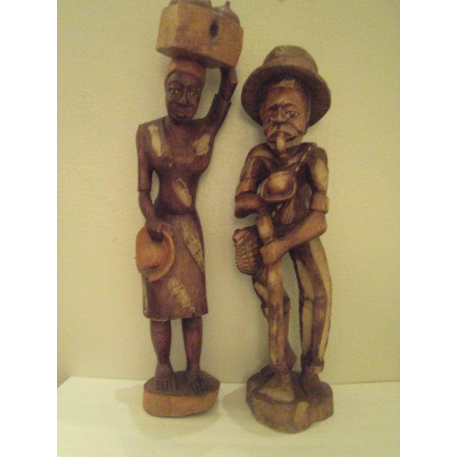 Vintage Wooden Carved Figures - Pair - Image 10 of 11