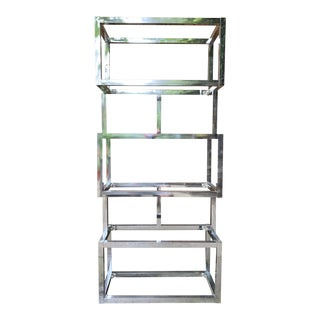 1970s Modern Geometric Etagere Bookcase Wall Unit For Sale
