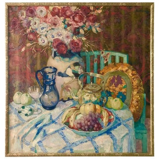 Large Fruit and Floral Still Life Painting by Pol Van De Broek, 1922 For Sale