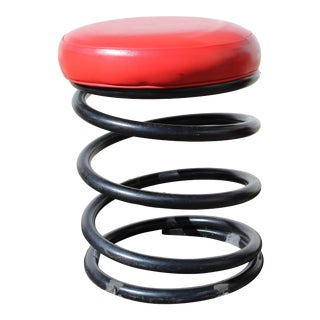 Vintage Industrial Coil Spring Stool with Red Vinyl Seat For Sale