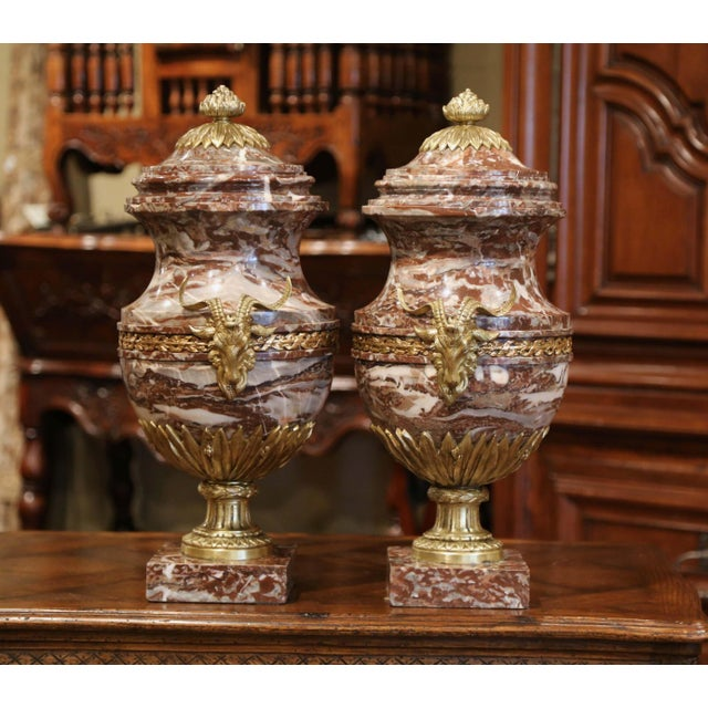 Figurative 19th Century French Carved Variegated Marble and Bronze Cassolettes-A Pair For Sale - Image 3 of 12