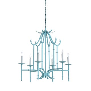 Bamboo Chandelier, Blue For Sale