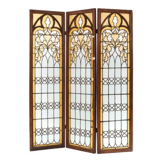 Gothic Revival Oak 3-Fold Screen For Sale