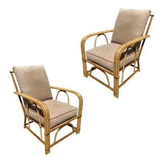 """1940s """"1949er"""" Rattan 3-Strand Lounge Chairs by Heywood Wakefield - a Pair For Sale"""