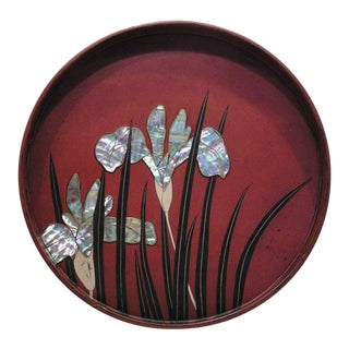 Antique Japanese Red Lacquer Tray with Mother-Of-Pearl Iris For Sale