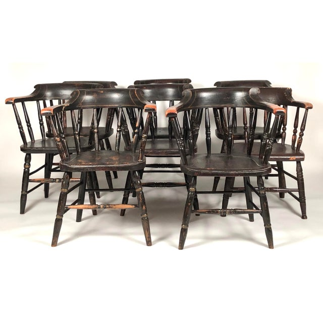 Late 19th Century Set of 8 Matched Captain's Dining Chairs For Sale - Image 5 of 13