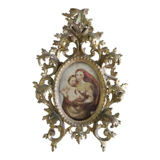 Italian Gilt Wood Venetian Frame w/ Mother & Child