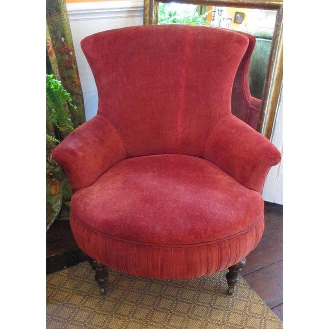 Victorian Red Velvet Slipper Chair - Image 2 of 6