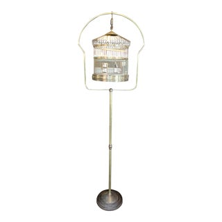1920s Leon Brass Standing Birdcage For Sale