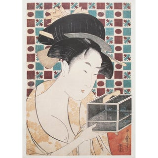 """1980s Kitagawa Utamaro """"Insect Cage"""" Vintage Print From Japan For Sale"""