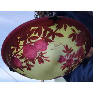 Galle French Cameo Glass Hanging Light Fixture Pomegranate Pattern Preview