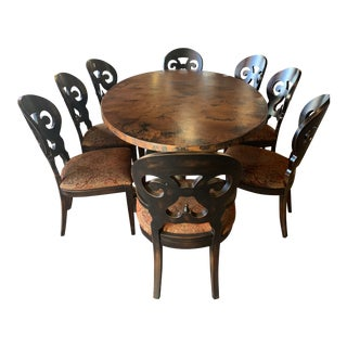 Arhaus Acid Washed Copper Table With Eight Arhaus Jackson Dining Chairs - 9 Pieces For Sale