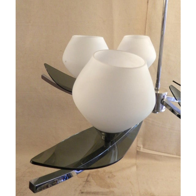 Mid-Century Modern Mid-Century 5-Globe Tinted Lucite Chandelier For Sale - Image 3 of 6